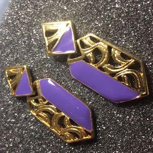 Vintage Purple and gold enamel earring